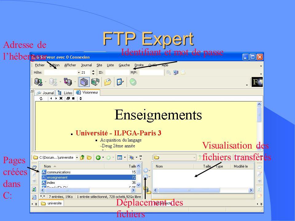 FTP Expert Adresse de l'hébergeur Identifiant et mot de passe