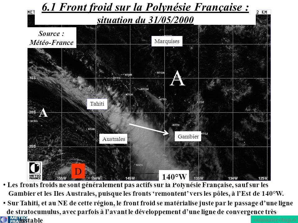 6.1 Front froid sur la Polynésie Française : situation du 31/05/2000