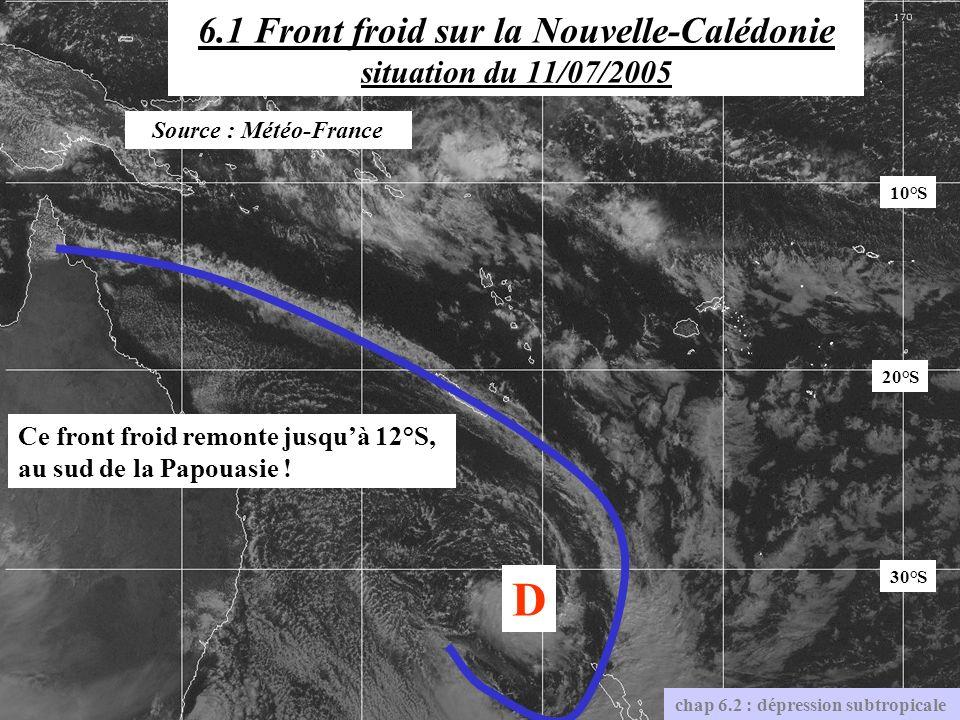 6.1 Front froid sur la Nouvelle-Calédonie situation du 11/07/2005