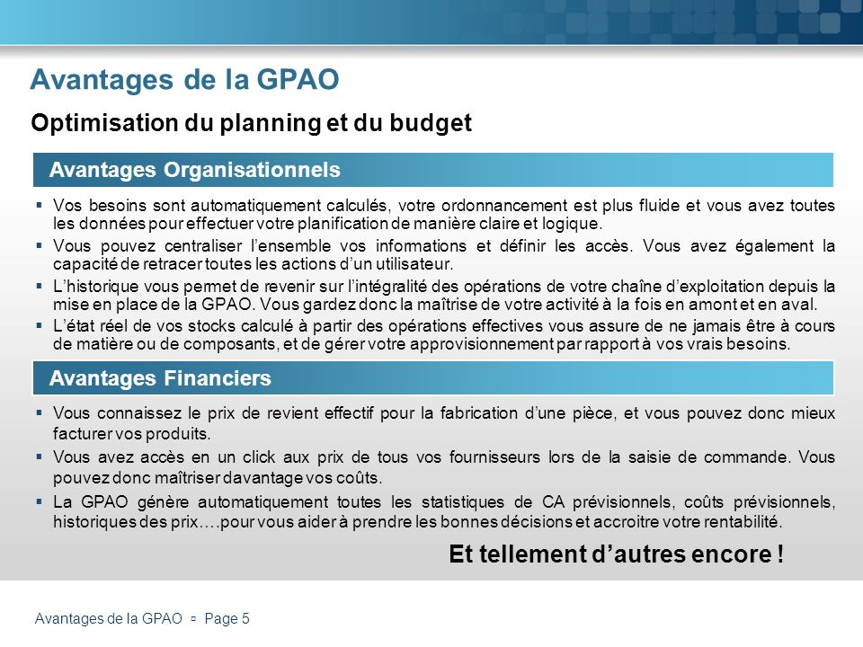 Avantages de la GPAO Optimisation du planning et du budget