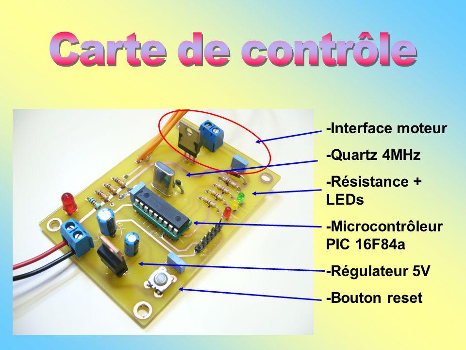 Carte de contrôle -Interface moteur -Quartz 4MHz -Résistance + LEDs