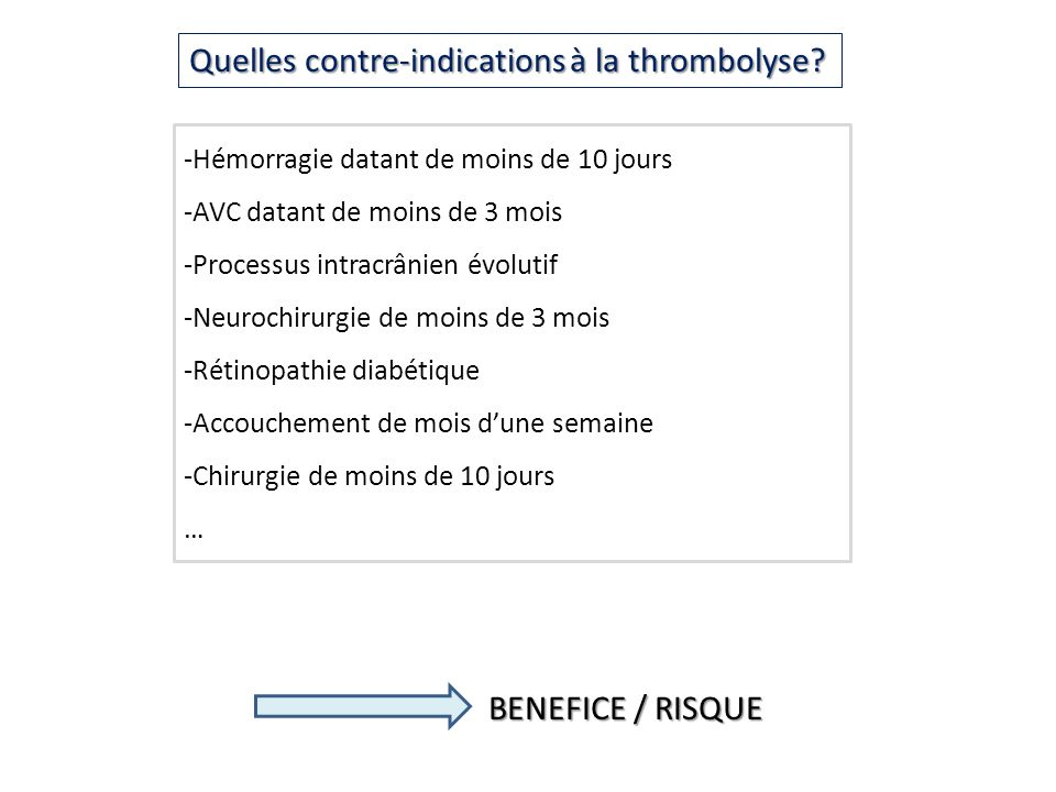 Quelles contre-indications à la thrombolyse