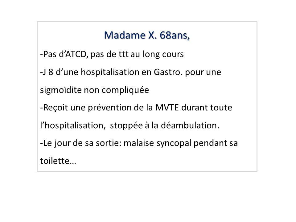 Madame X. 68ans, -Pas d'ATCD, pas de ttt au long cours