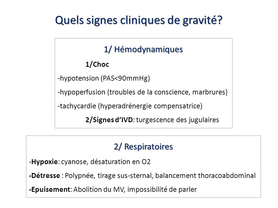 Quels signes cliniques de gravité