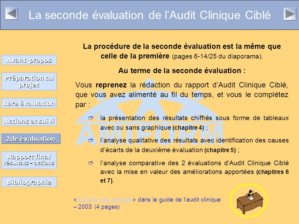 La seconde évaluation de l'Audit Clinique Ciblé