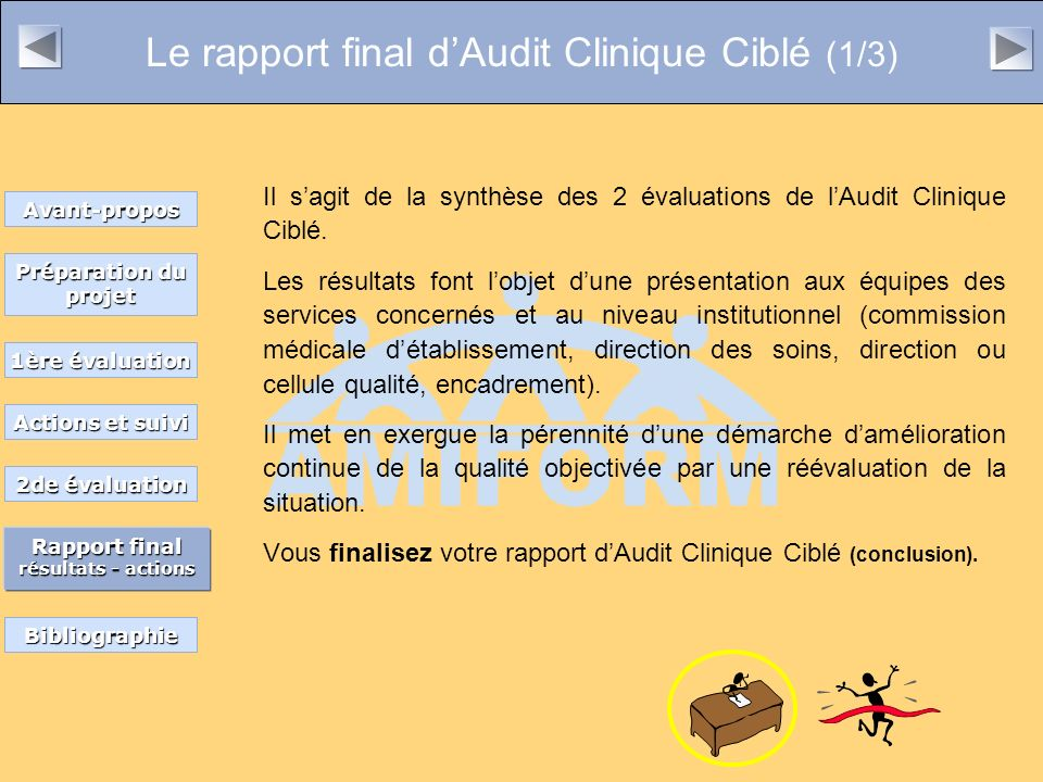 Le rapport final d'Audit Clinique Ciblé (1/3)