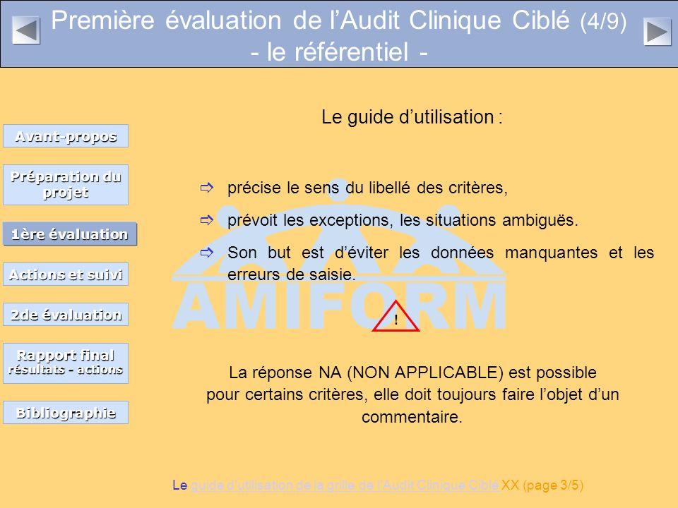 Première évaluation de l'Audit Clinique Ciblé (4/9) - le référentiel -