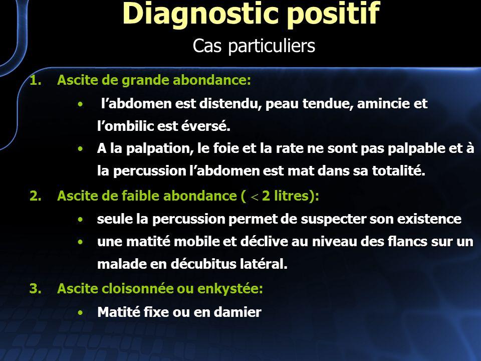 Diagnostic positif Cas particuliers