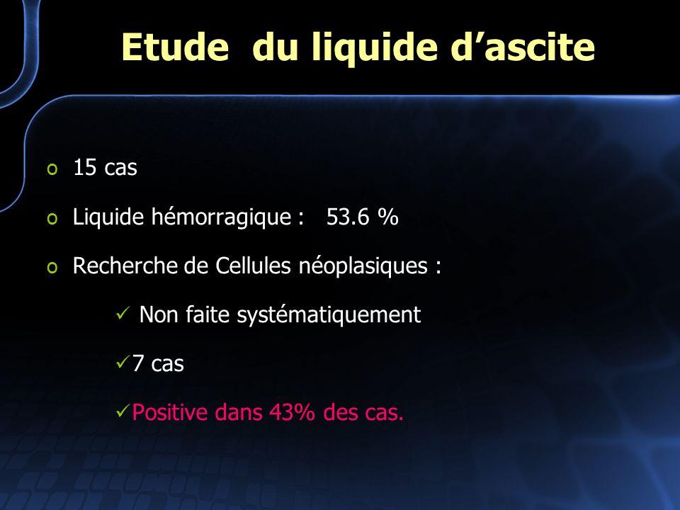 Etude du liquide d'ascite