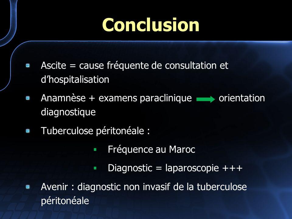 Conclusion Ascite = cause fréquente de consultation et d'hospitalisation. Anamnèse + examens paraclinique orientation diagnostique.