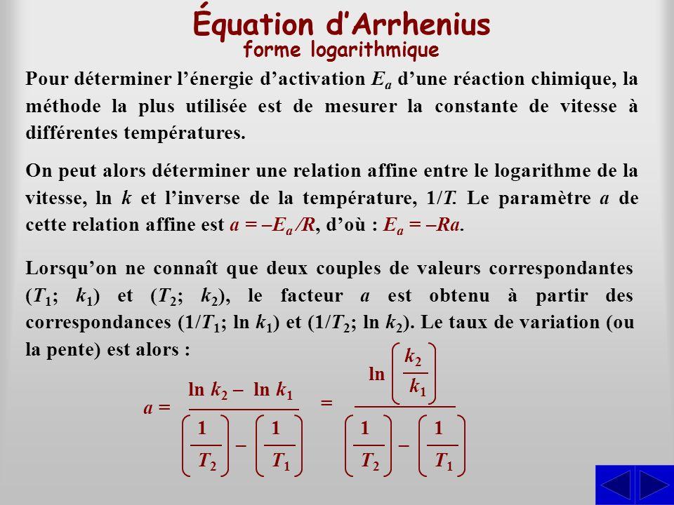 Équation d'Arrhenius forme logarithmique