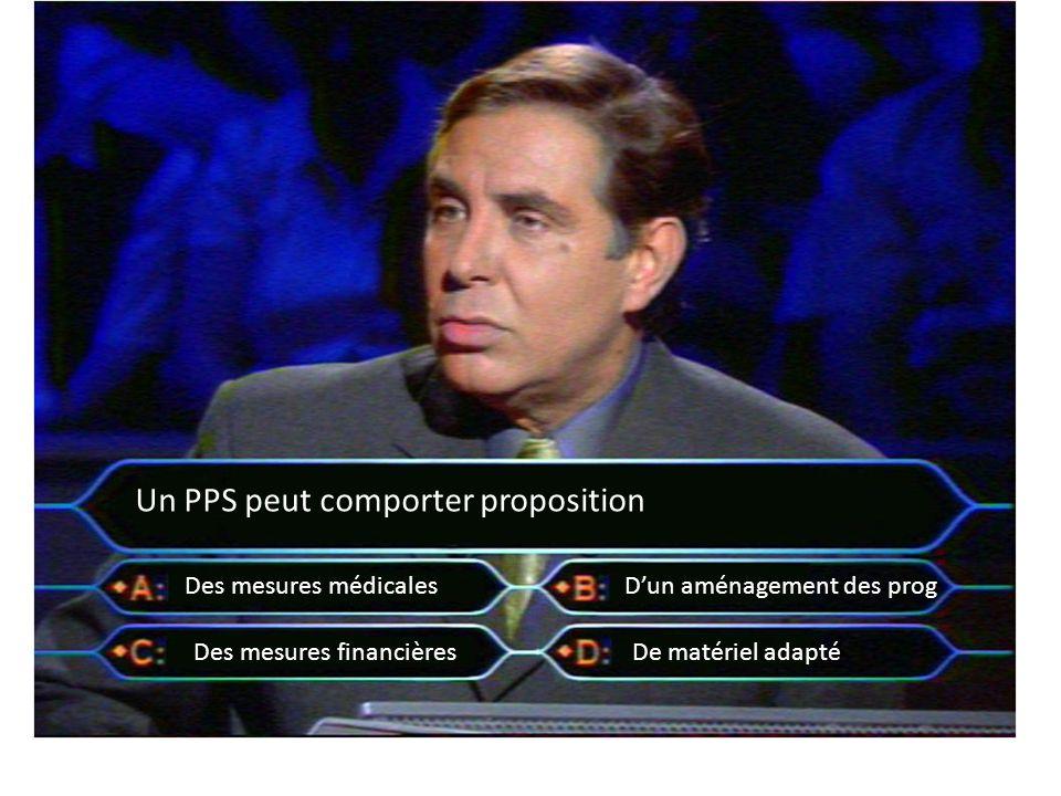 Un PPS peut comporter proposition