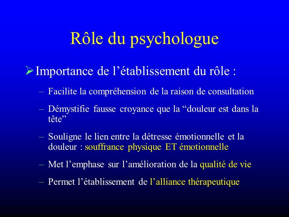 Rôle du psychologue Importance de l'établissement du rôle :