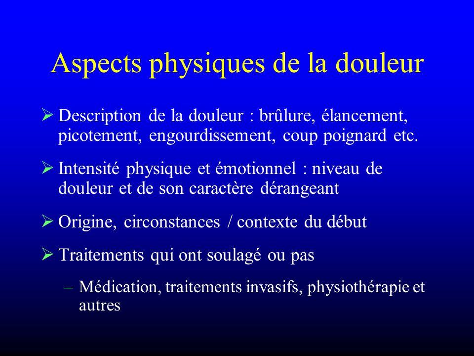 Aspects physiques de la douleur