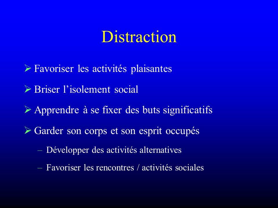 Distraction Favoriser les activités plaisantes