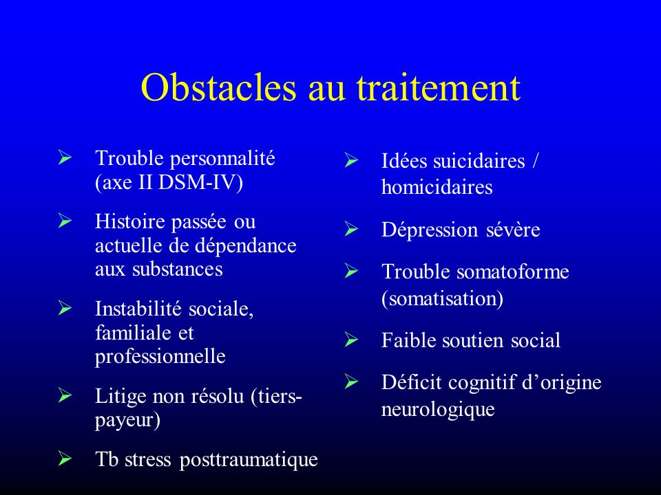 Obstacles au traitement