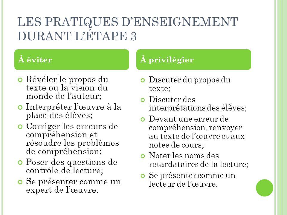 LES PRATIQUES D'ENSEIGNEMENT DURANT L'ÉTAPE 3