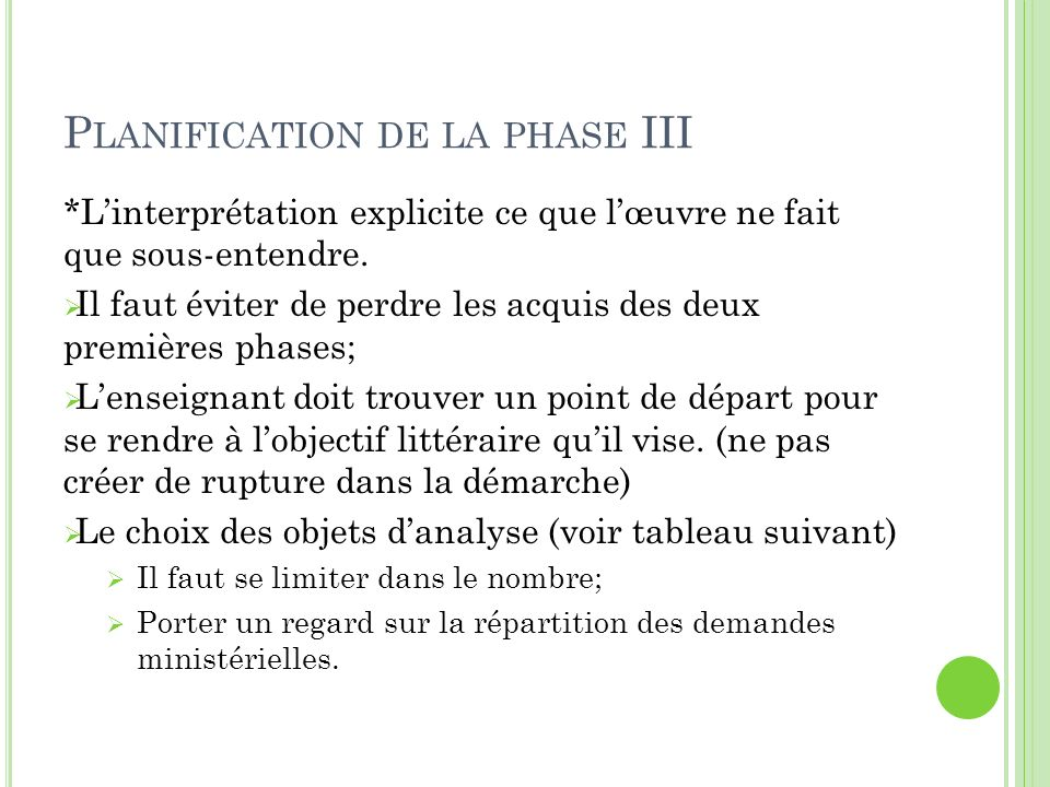 Planification de la phase III