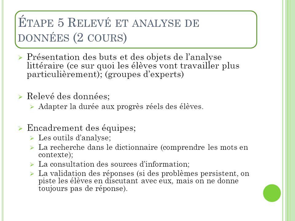 Étape 5 Relevé et analyse de données (2 cours)