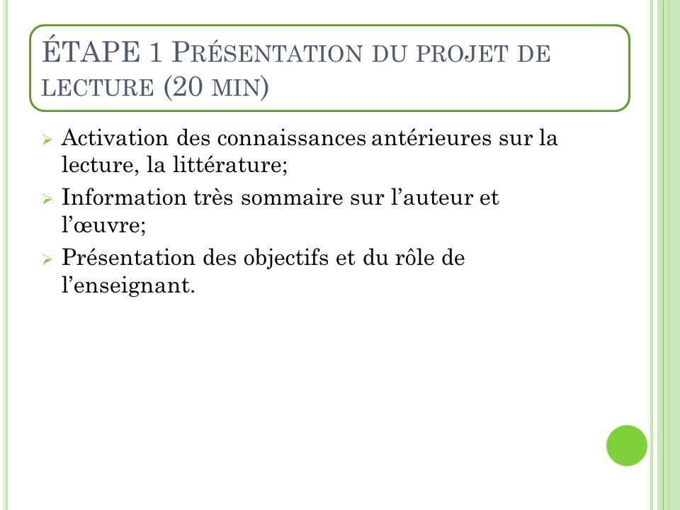 ÉTAPE 1 Présentation du projet de lecture (20 min)