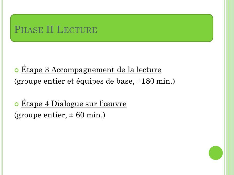 Phase II Lecture Étape 3 Accompagnement de la lecture