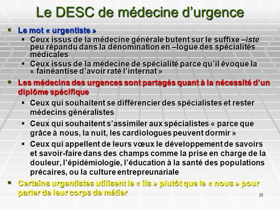 Le DESC de médecine d'urgence