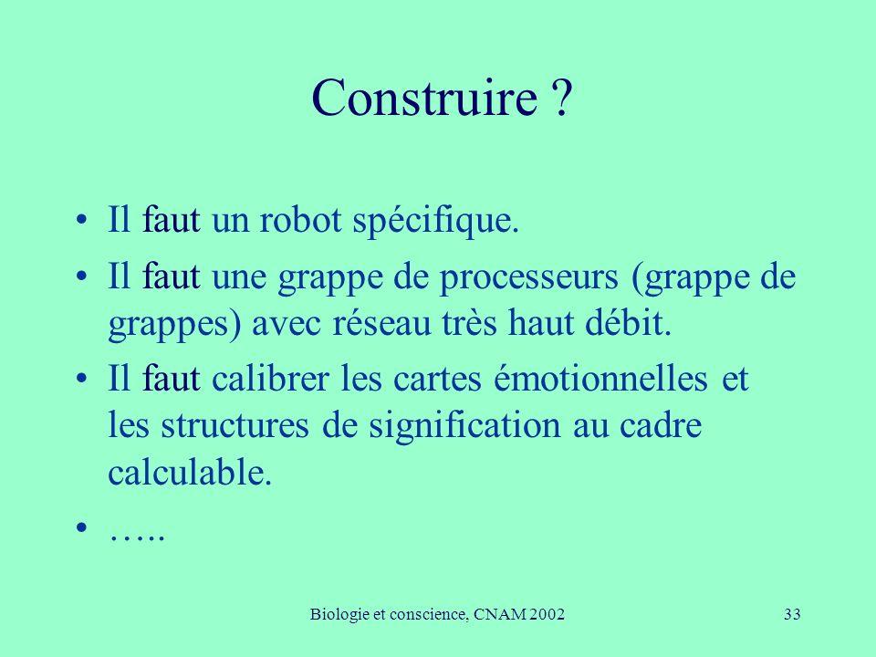 Biologie et conscience, CNAM 2002