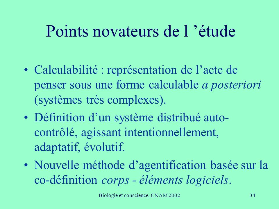 Points novateurs de l 'étude
