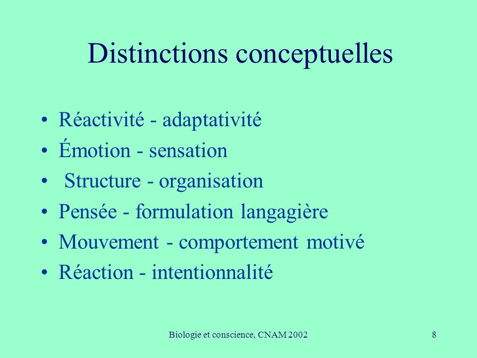 Distinctions conceptuelles