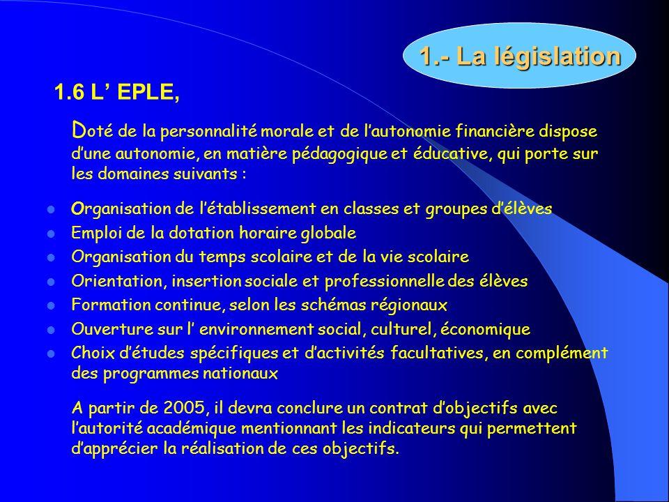 1.- La législation 1.6 L' EPLE,