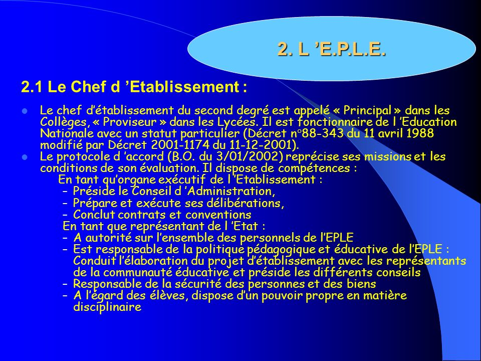 2. L 'E.P.L.E. 2.1 Le Chef d 'Etablissement :