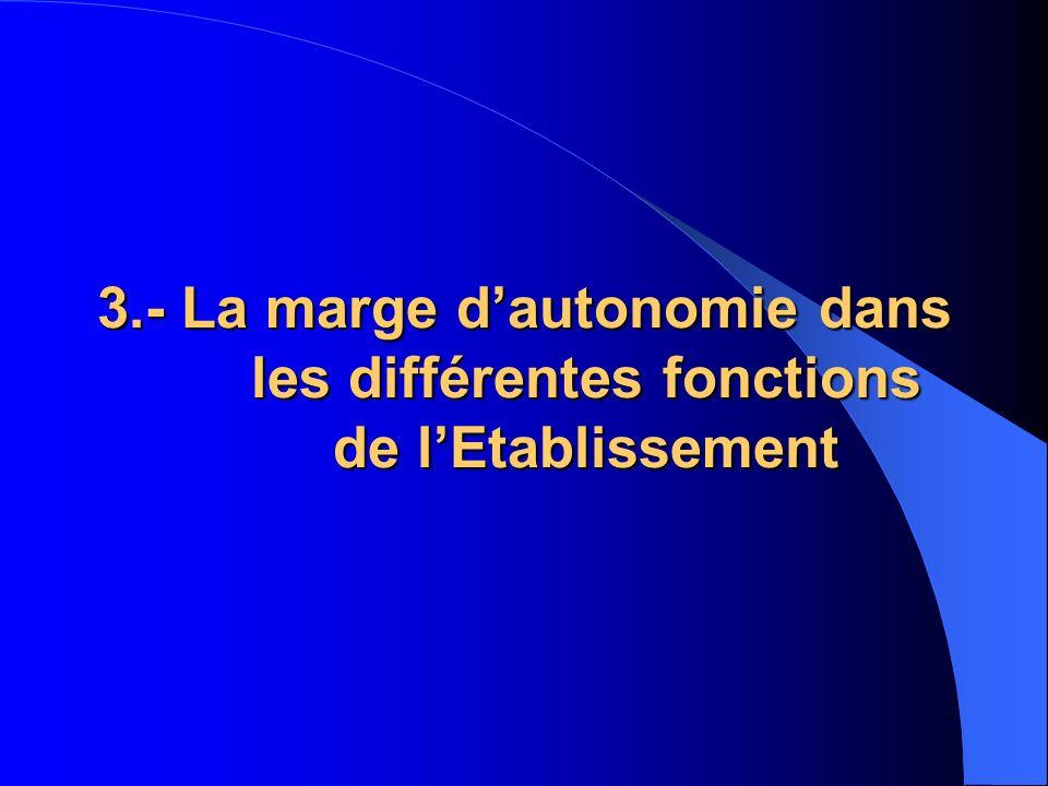 3.- La marge d'autonomie dans les différentes fonctions de l'Etablissement