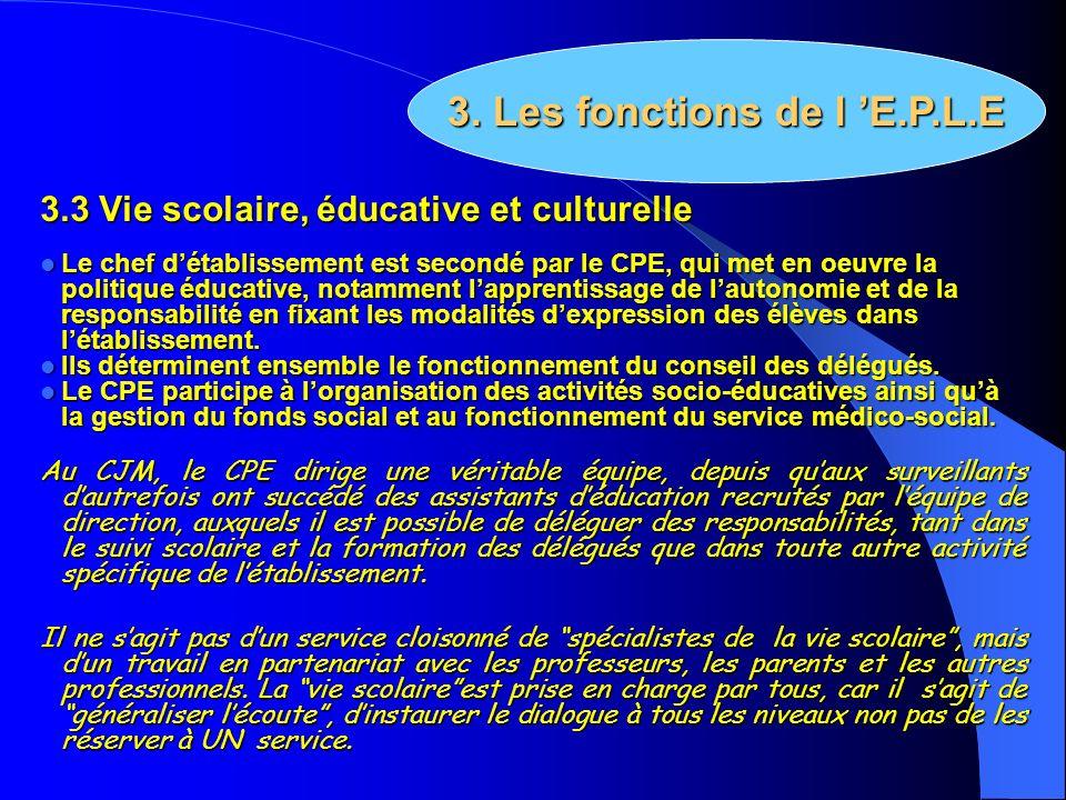 3. Les fonctions de l 'E.P.L.E
