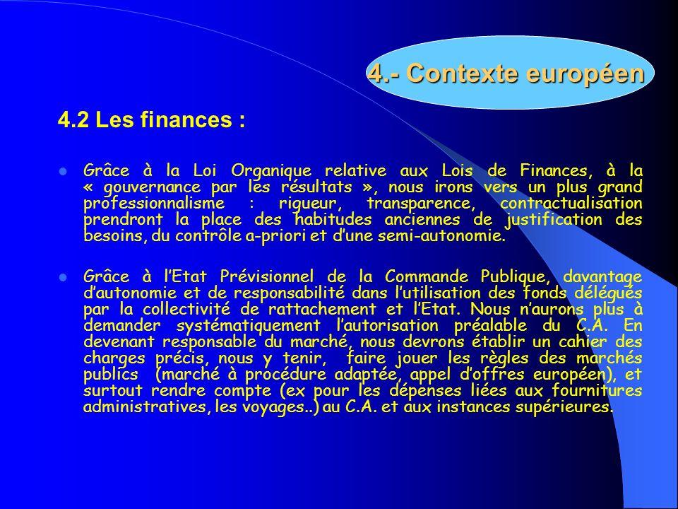4.- Contexte européen 4.2 Les finances :
