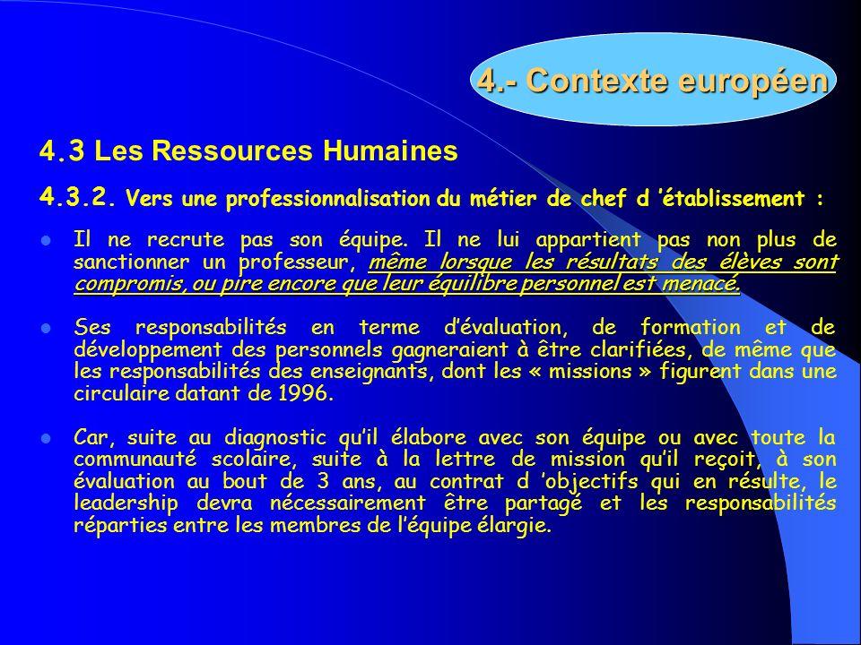 4.- Contexte européen 4.3 Les Ressources Humaines