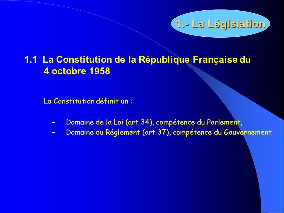 1.- La Législation 1.1 La Constitution de la République Française du 4 octobre 1958. La Constitution définit un :