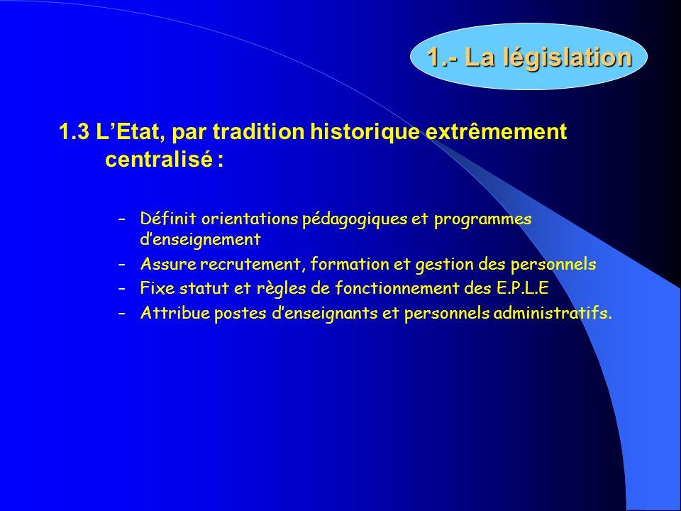 1.- La législation 1.3 L'Etat, par tradition historique extrêmement centralisé : Définit orientations pédagogiques et programmes d'enseignement.