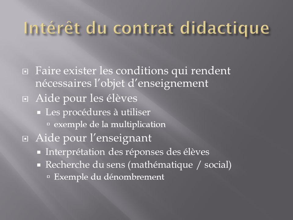 Intérêt du contrat didactique