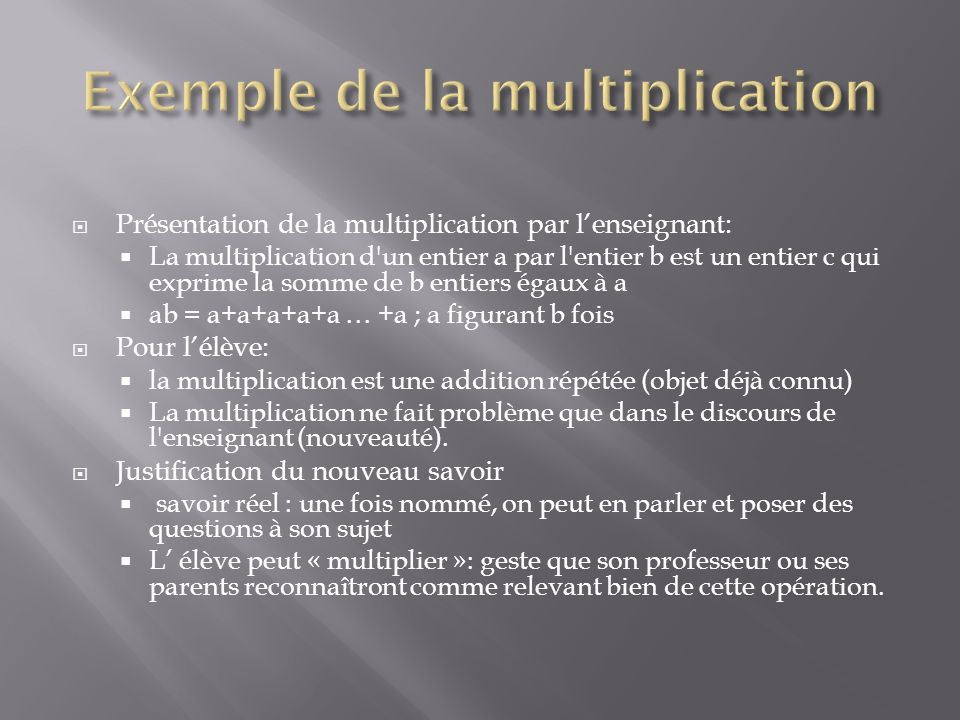 Exemple de la multiplication