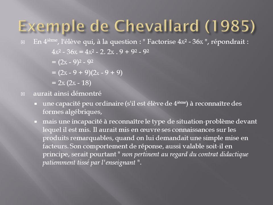 Exemple de Chevallard (1985)