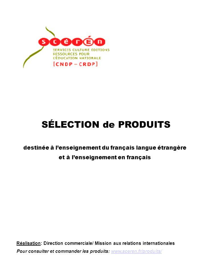 SÉLECTION de PRODUITS destinée à l'enseignement du français langue étrangère. et à l'enseignement en français.