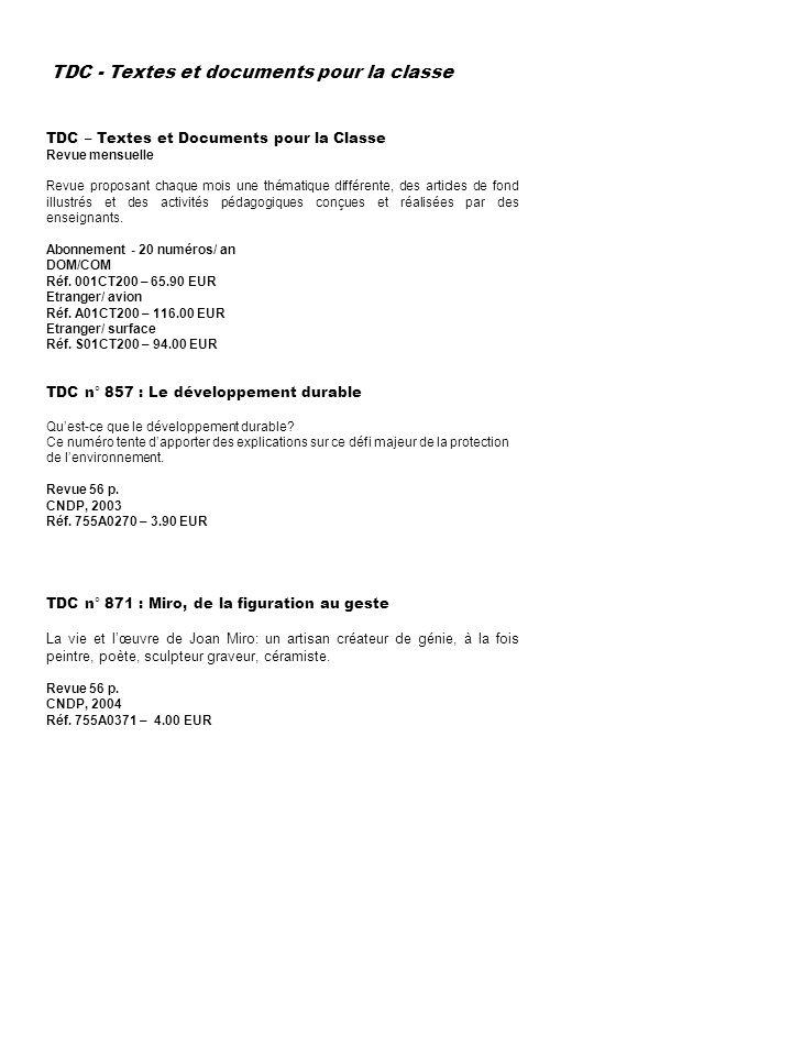 TDC - Textes et documents pour la classe
