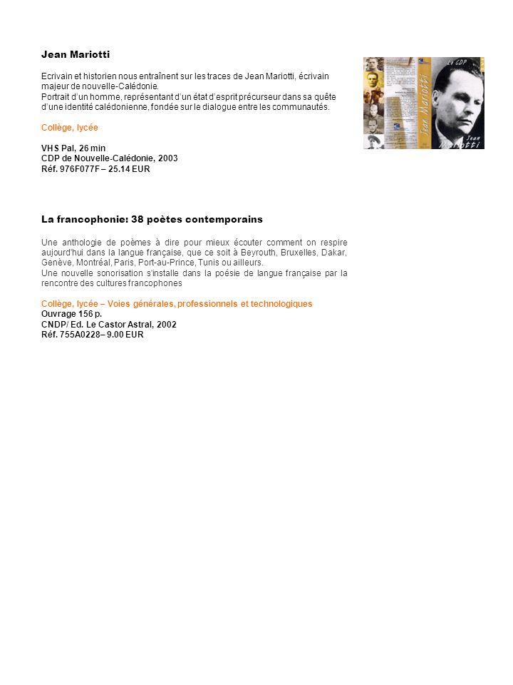 La francophonie: 38 poètes contemporains