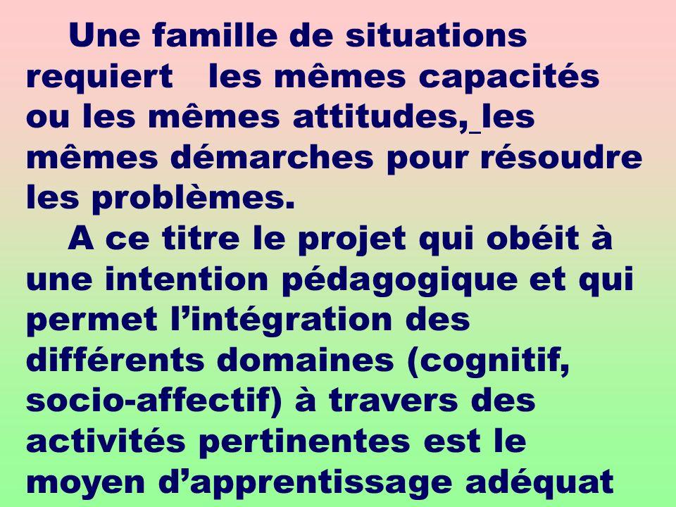 Une famille de situations requiert les mêmes capacités ou les mêmes attitudes, les mêmes démarches pour résoudre les problèmes.