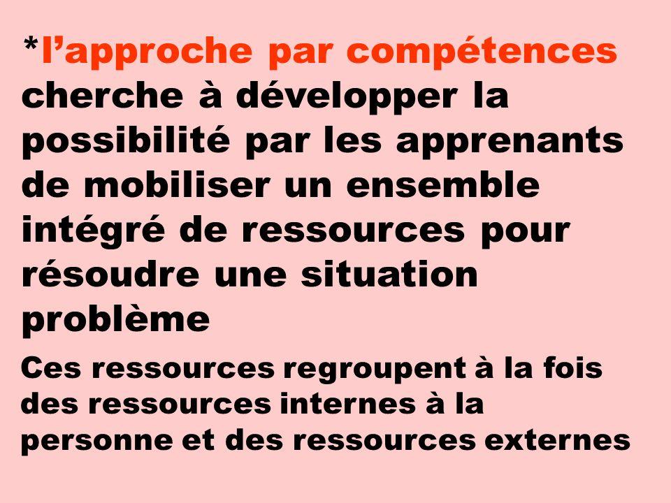 *l'approche par compétences cherche à développer la possibilité par les apprenants de mobiliser un ensemble intégré de ressources pour résoudre une situation problème