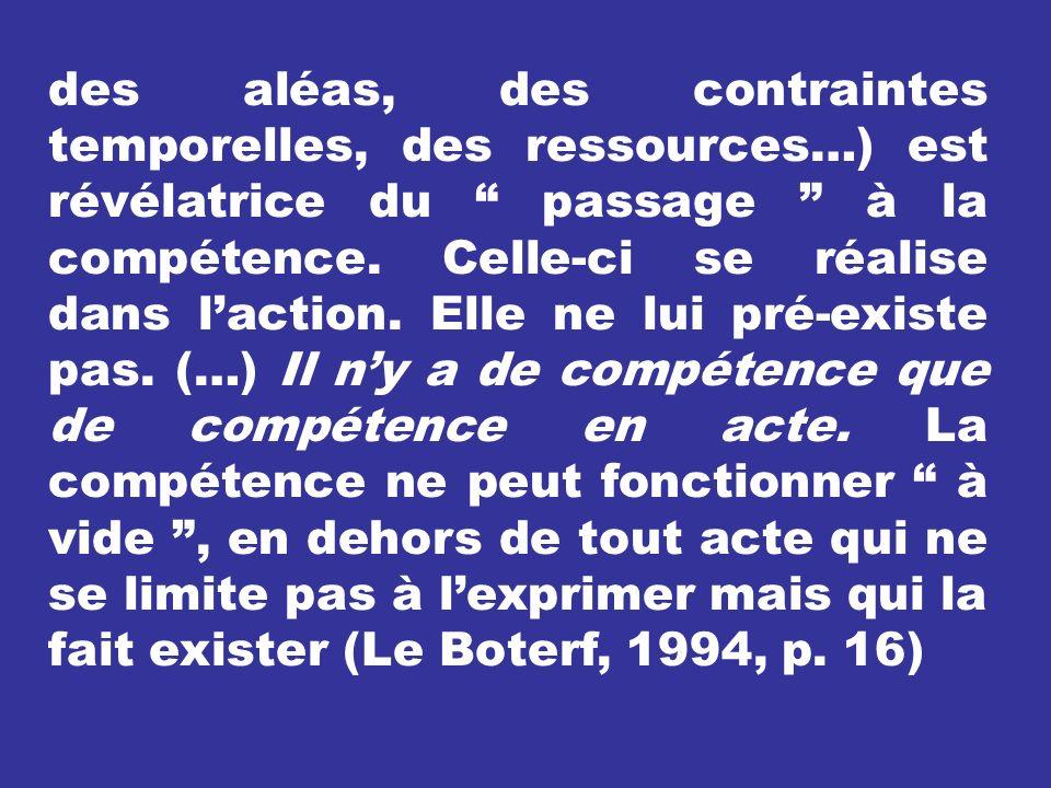 des aléas, des contraintes temporelles, des ressources…) est révélatrice du passage à la compétence.