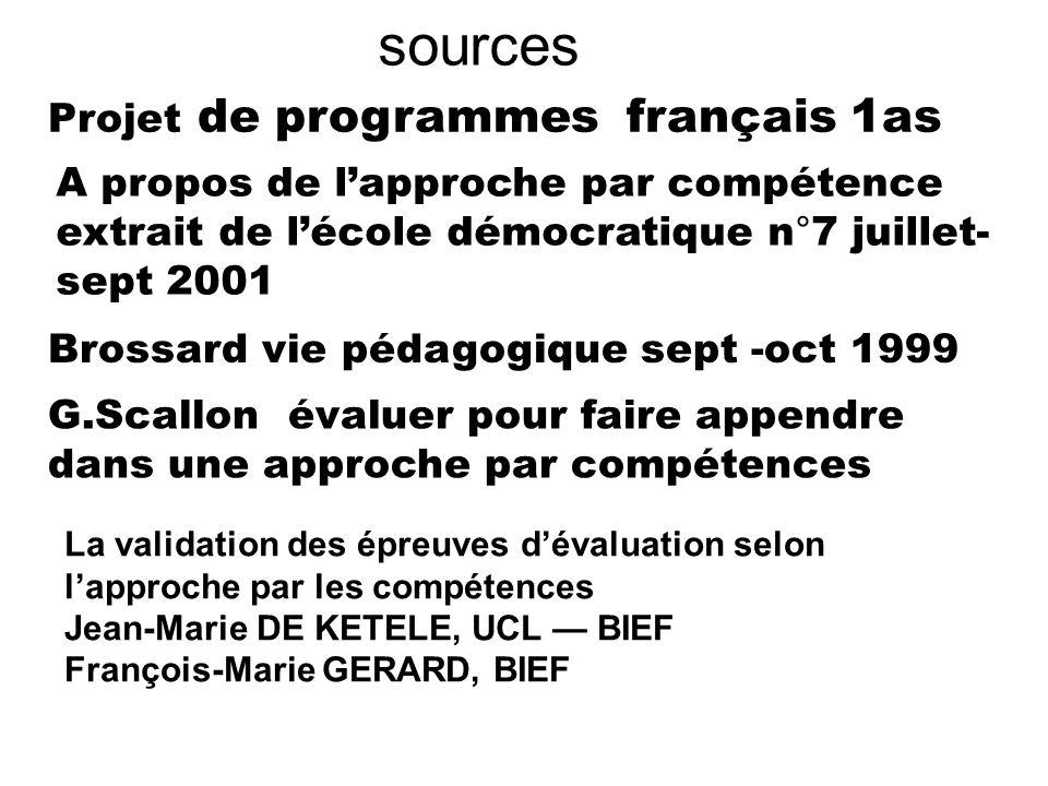 sources Projet de programmes français 1as