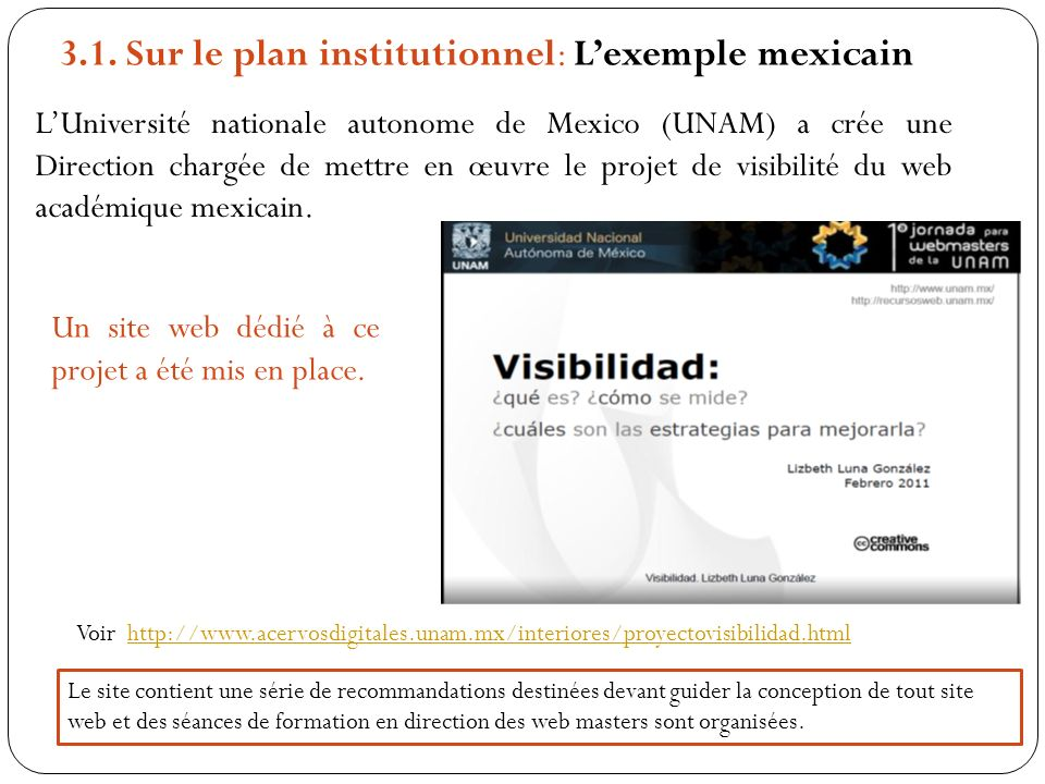 3.1. Sur le plan institutionnel: L'exemple mexicain