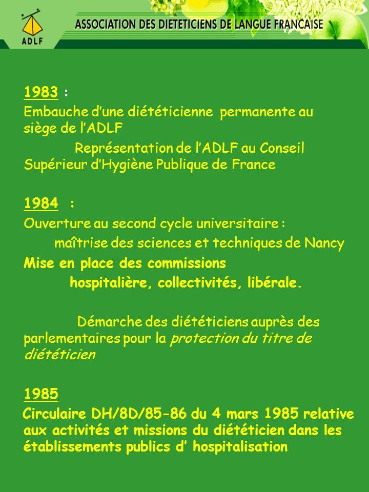1983 : Embauche d'une diététicienne permanente au siège de l'ADLF.