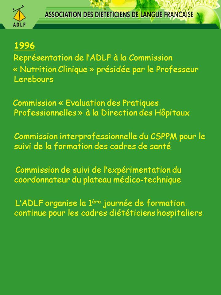 1996 Représentation de l'ADLF à la Commission. « Nutrition Clinique » présidée par le Professeur Lerebours.